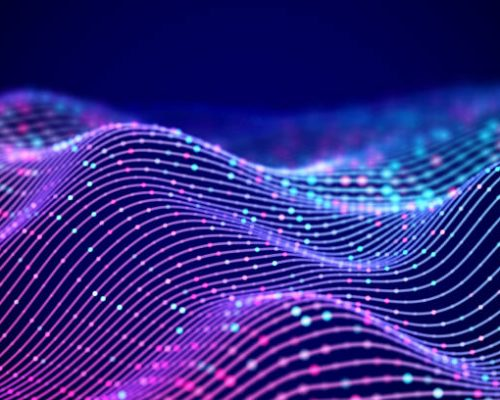 3D Sound waves with colored dots. Big data abstract visualization. Digital concept: virtual landscape. Futuristic background. Sound waves, visual audio waves equalizer, EPS 10 vector illustration.